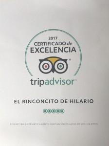 cerrtificado excelencia tripadvisor 2017